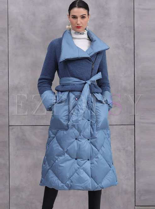 Lapel Fleece Patchwork Diamond Long Down Coat