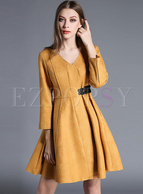 V-neck Long Sleeve A Line Coat Dress