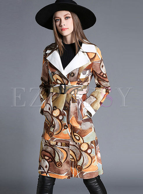 Notched Long Sleeve Print Suede Trench Coat
