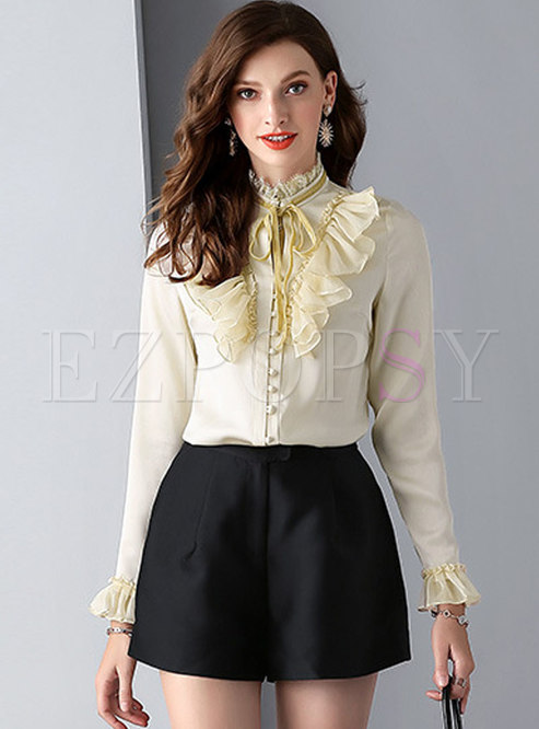 Mock Neck Ruffle Bowknot Buttoned Blouse