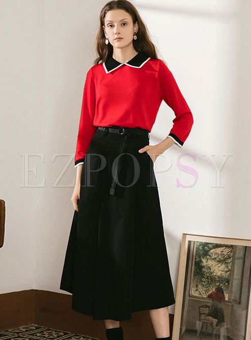 Color-blocked Pullover Sweater A Line Suit Dress
