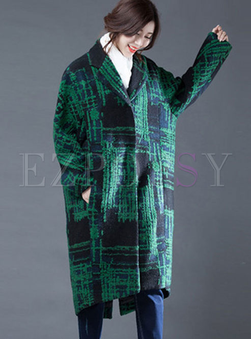 Notched Color-blocked Loose Wool Blend Coat