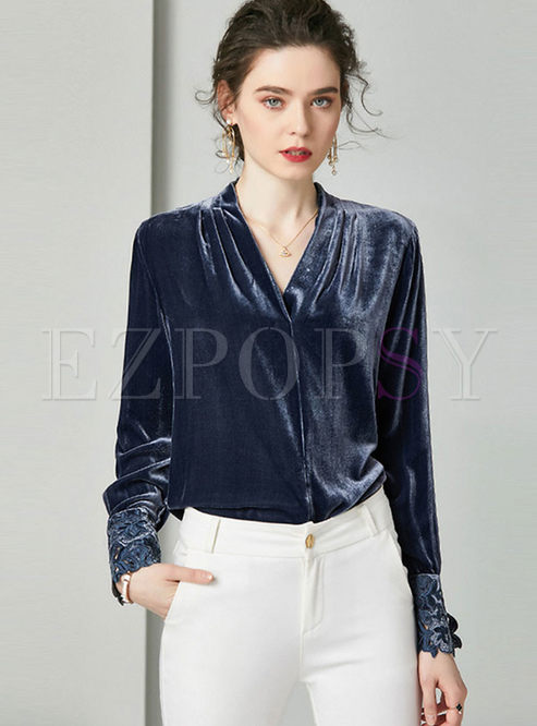 V-neck Pullover Loose Velvet Blouse
