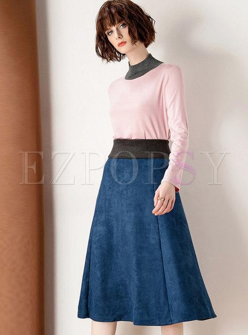 Color-blocked Mock Neck A Line Suit Dress
