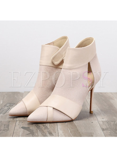 Pointed Head Openwork Thin Heel Shoes