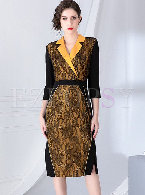 Color-blocked Lace Patchwork Bodycon Dress