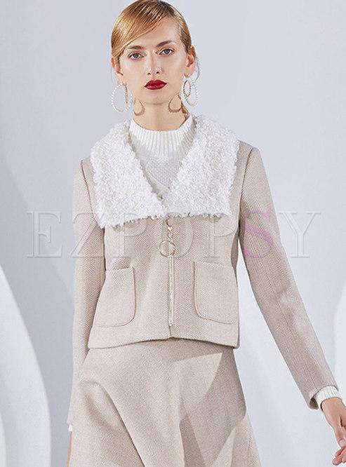 Fleece Lapel Wave Striped Short Coat