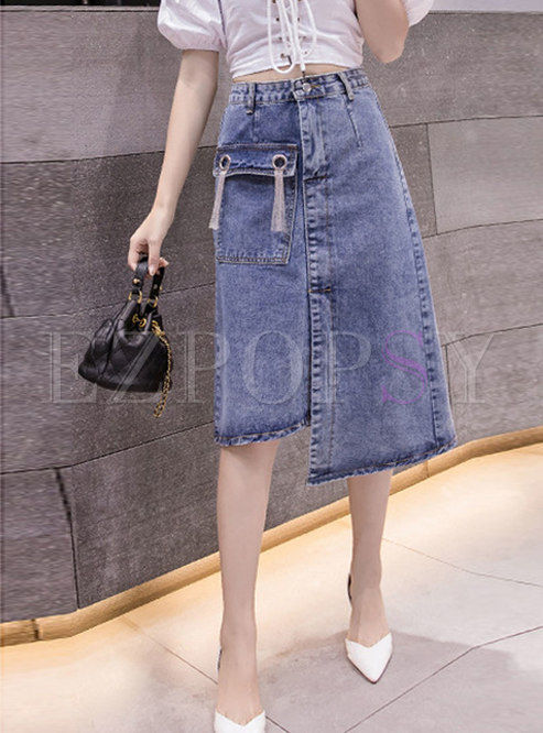 High Waisted Denim Asymmetric Skirt