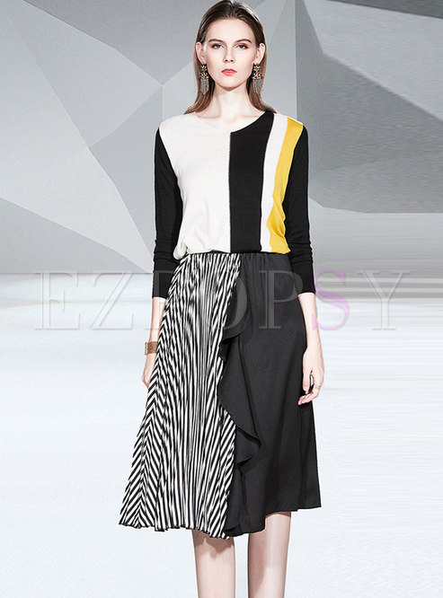 V-neck Pullover Sweater Striped Suit Dress