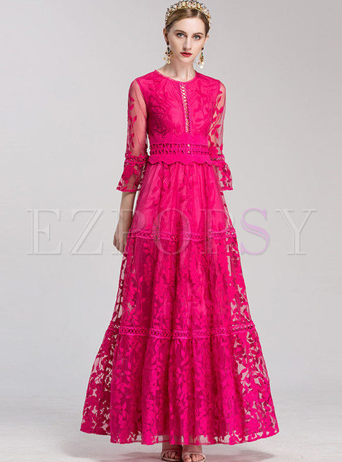 Mesh Flare Sleeve Embroidered Party Maxi Dress