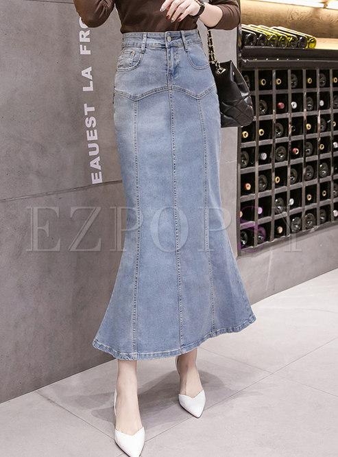 Blue High Waisted Denim Peplum Maxi Skirt