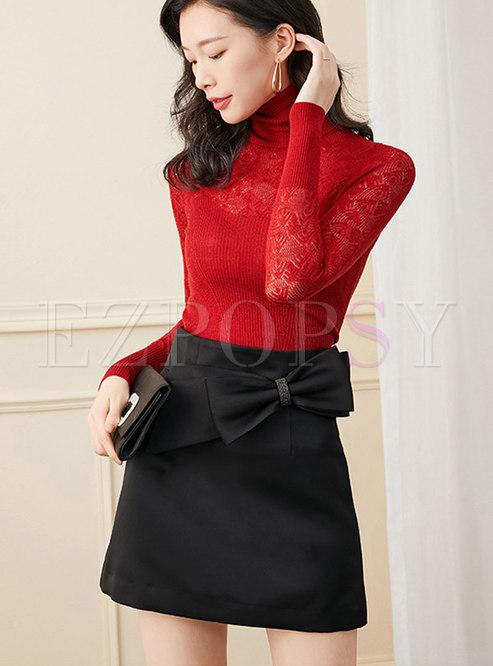 Black High Waisted Bowknot Mini Skirt