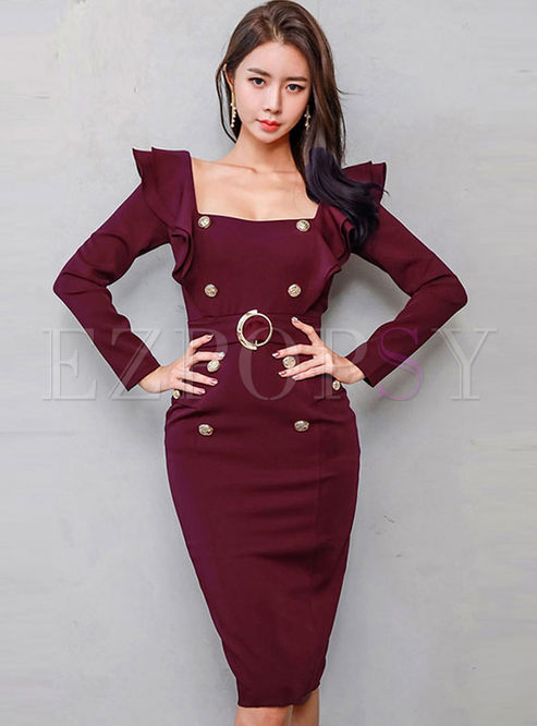 Square Neck Backless High Waisted Bodycon Dress