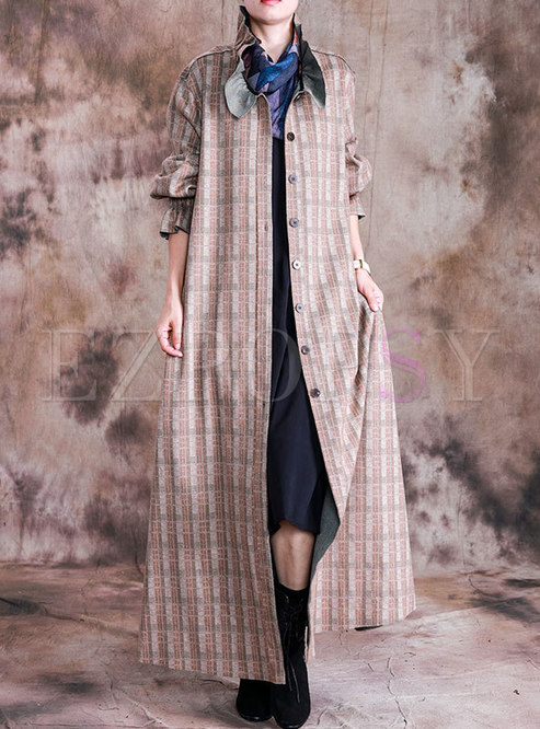 Mock Neck Plaid Long Trench Coat