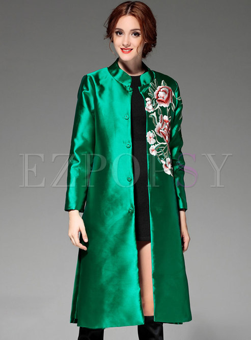 Mock Neck Embroidered Knee-length Trench Coat