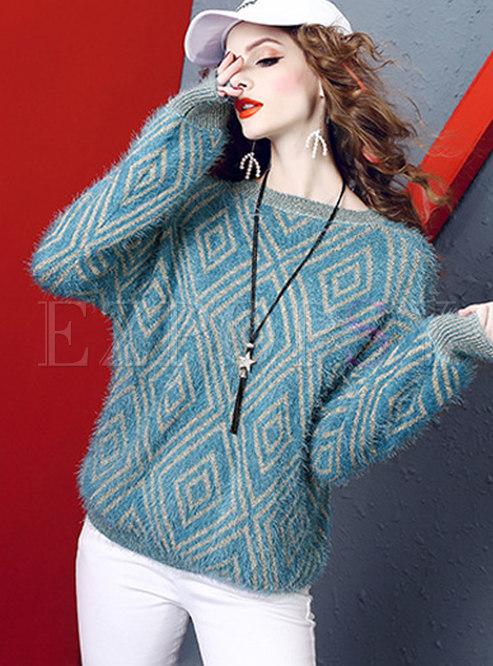 Crew Neck Geometric Print Pullover Sweater