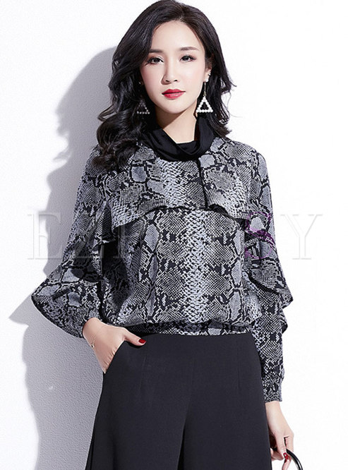 Leopard Falbala Patchwork Pullover Blouse