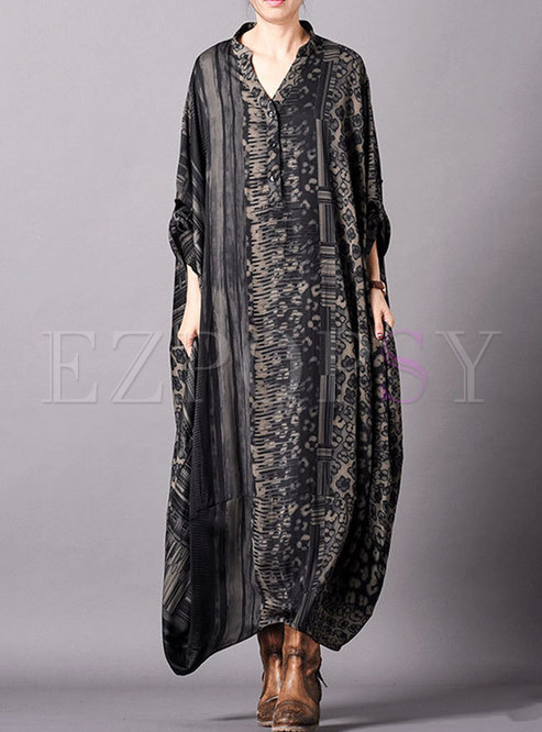 V-neck Print Plus Size Silk Shift Dress