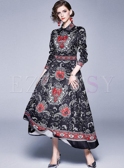 Lapel Print Big Hem Formal Maxi Dress