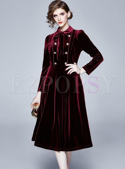 Solid Color Velvet A Line Midi Dress