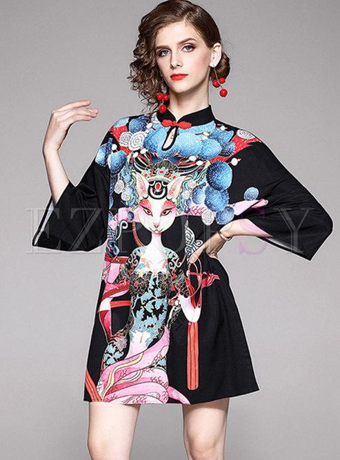Mandarin Collar Flare Sleeve Print Shift Dress