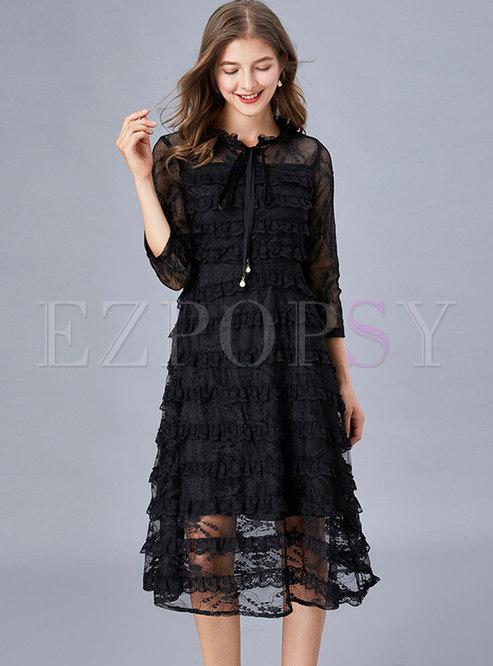 Black Lace Mesh A Line Plus Size Dress