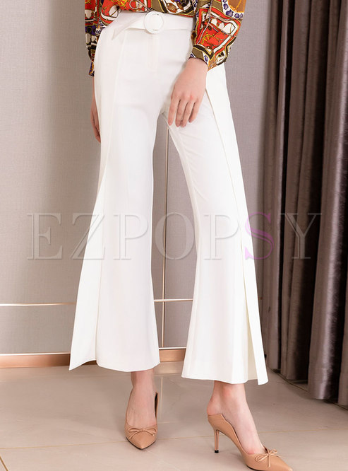 Solid Color High Waisted Flare Pants