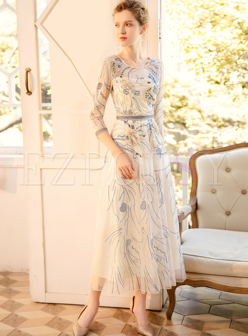 Mesh Embroidered Transparent Party Maxi Dress