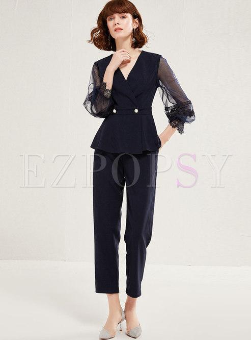 V-neck Mesh Patchwork Slim Pant Suits