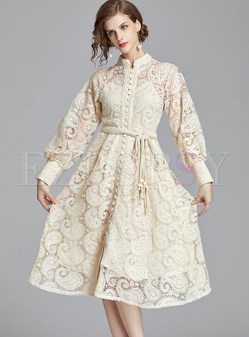 Mock Neck Long Sleeve Openwork Lace Dress
