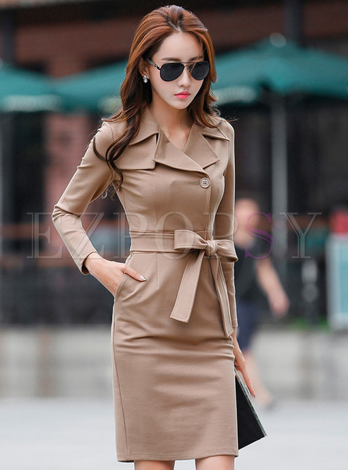 Notched Long Sleeve Sheath Slit Dress