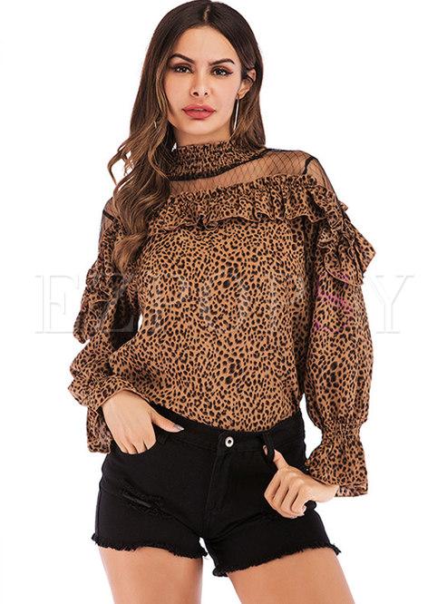 Turtleneck Mesh Patchwork Leopard Blouse