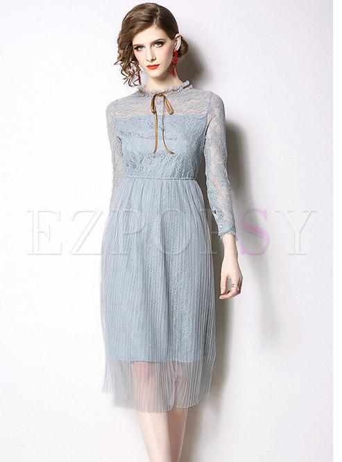 Mock Neck Openwork Mesh Patchwork Lace Dress