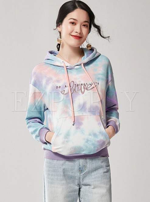 Letter Embroidered Pullover Loose Hoodie