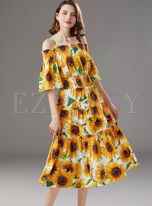 Boat Neck Half Sleeve Sunflower Beach Dress