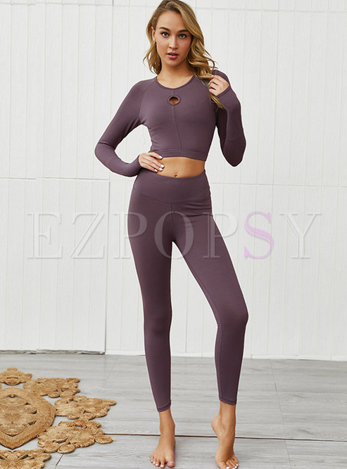 Crew Neck Long Sleeve Openwork Workout Tracksuit