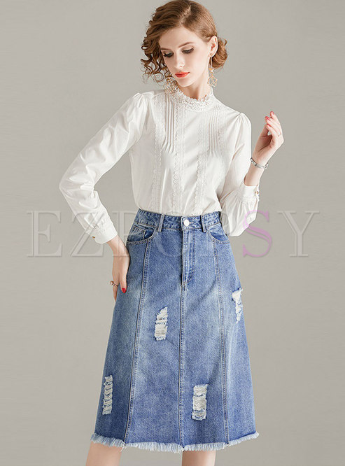 Mock Neck Lace Patchwork Denim Suit Dress