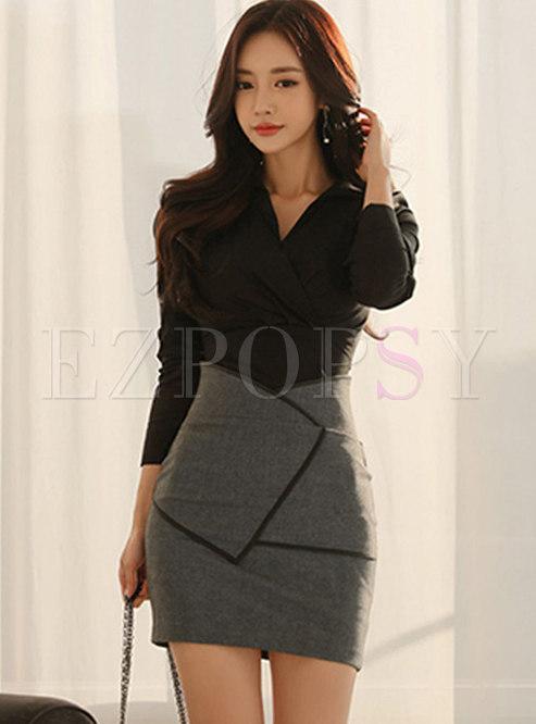 V-neck High Waisted Mini Bodycon Skirt Suits