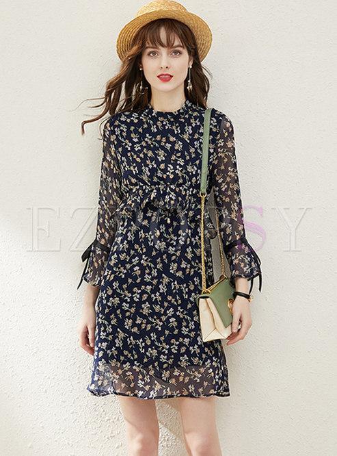 Flare Sleeve Floral Chiffon Mini Dress
