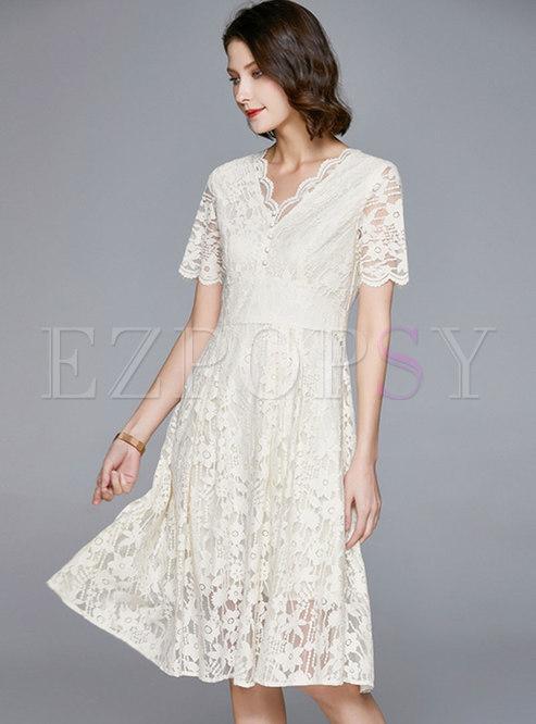 White V-neck High Waisted Lace Dress