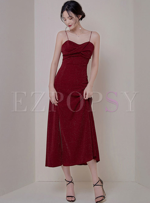 Wine Red High Waisted Cocktail Dress