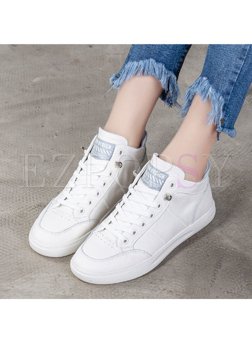 Round Toe Elastic White Flats