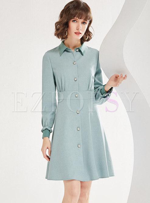 Turn Down Collar A Line Shirt Dress