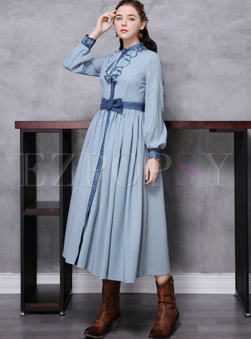 Falbala Patchwork Striped Big Hem Maxi Dress
