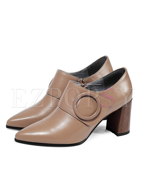 Pointed Toe Square Heel Buckle Pumps