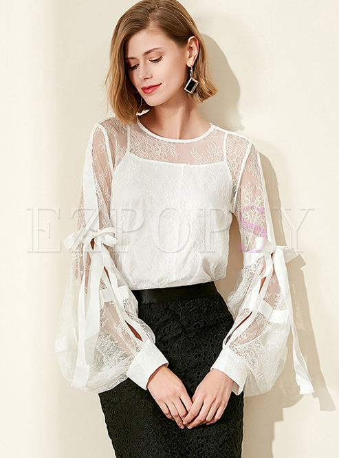 Lace Lantern Sleeve Blouse With Camisole