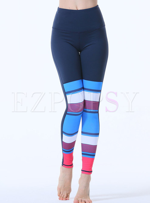 Color-blocked Striped Tight Workout Pants