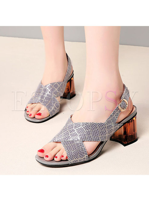Square Toe Leather Chunky Heel Sandals