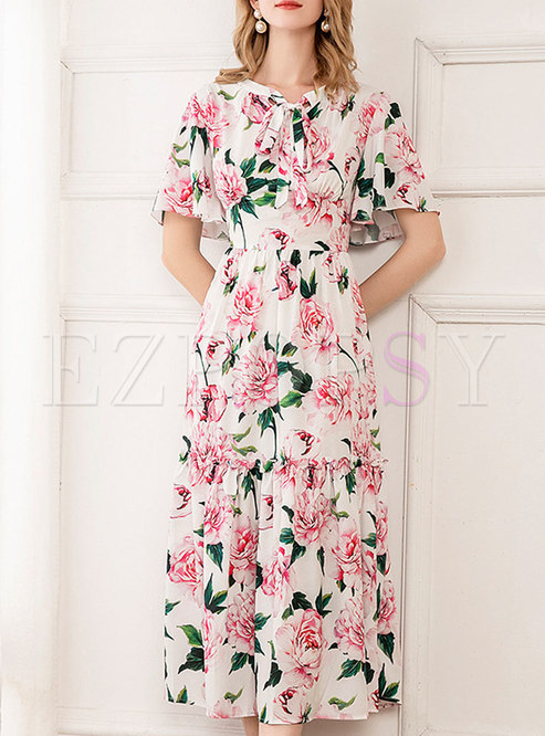 Print Tie-collar High Waisted Midi Dress