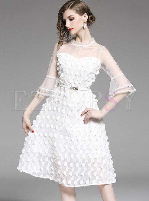 Transparent Flare Sleeve Party Skater Dress